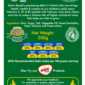 Dawn bread NUTRITIONAL INFORMATION